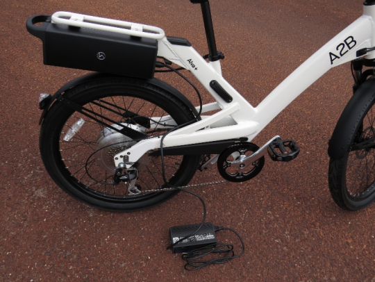 The battery can also be charged on the bike.