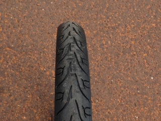 """The 24"""" x 2.35"""" wide Kenda tires are pretty wide and they provide a cushy ride."""