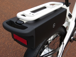 This is the 36V 13.2ah lithium ion battery that slides onto the bike below the rear rack.  There is a key lock that locks it into place.