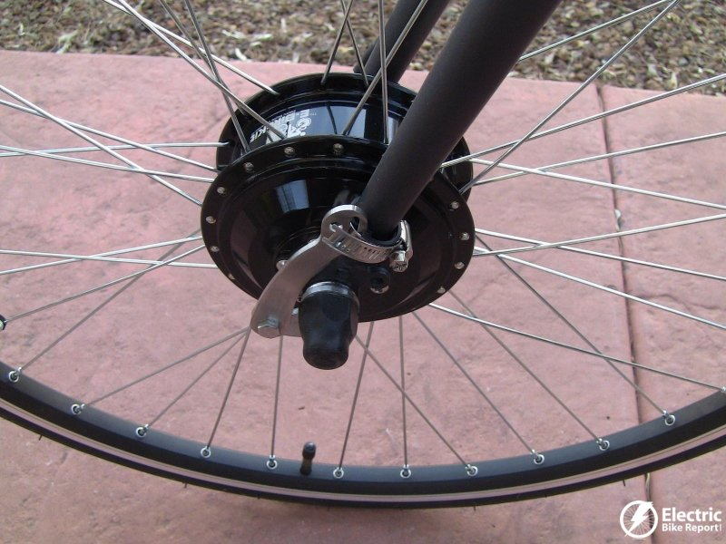 E bike kit specs pictures video for geared front for Electric bike motor reviews