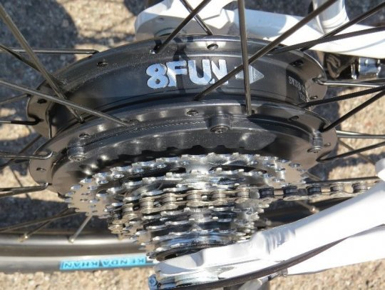 This is the 350 watt geared rear hub motor made by 8FUN (Bafang)