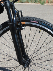 The Xoom suspension fork definitely helps take the edge off of bumps and cracks in the road on the F4W Peak