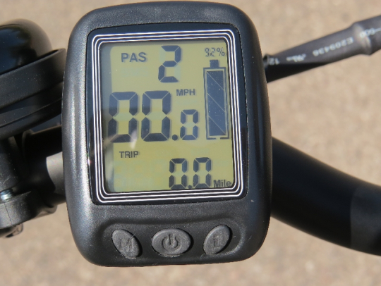 The display of the F4W peak allows you to change the pedal assist levels (0,1,2, or 3)