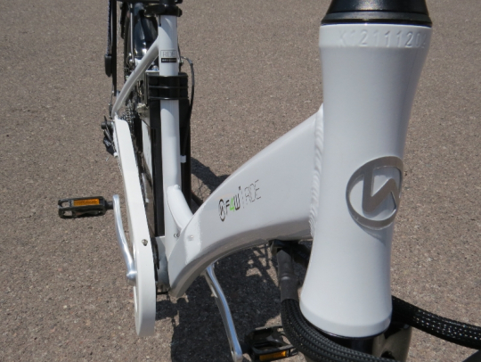 The Ride has a solid looking aluminum frame that is designed to fit riders of all sizes.