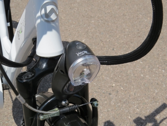 The front LED light on the F4W ride is powered by its own batteries.
