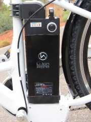 The Sony 36V 9ah lithium ion battery is located behind the seat tube of the frame.  That is a nice location to keep the battery weight low and centered on the bike.