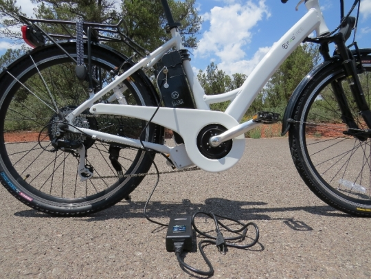 The battery can also be  charged while it is on the bike as well.