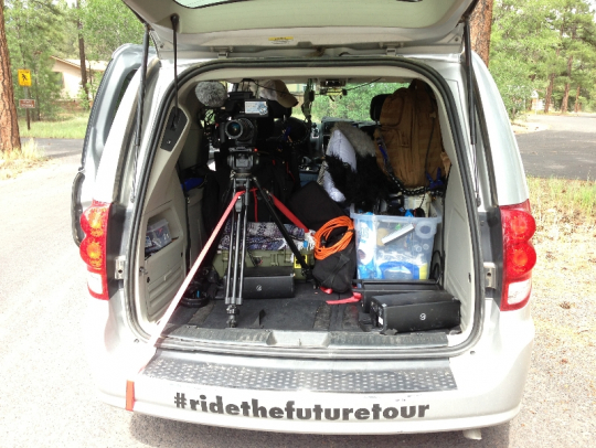 The RTFT filming van!  The RTFT documentary film crew has this mini van decked out with tons of video and audio equipment.