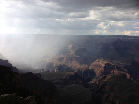 While we were at the Canyon a lightning storm was lighting up the Canyon with ecoey booms of thunder