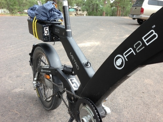 Here is a close up of the aluminum frame of the unique looking A2B Metro e-bike