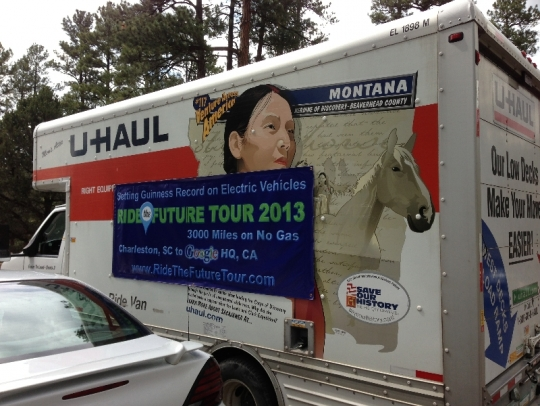 This Uhaul truck is the uber support vehicle with lots of extra parts, tools, bbq,