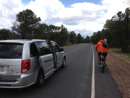 The RTFT documentary film crew catches Ben Hopkins in action before reaching the Grand Canyon rim.