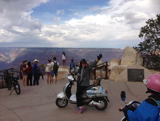 Susan lets everybody know that she and her crew just traveled 3,000 miles from Charleston SC to the Grand Canyon on electric vehicles!