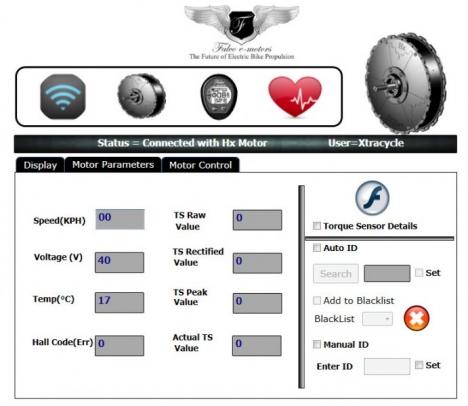 Falco interface motor parameters