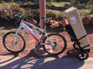 Carrying some cargo with the Easy Motion Neo Jumper and the Burley Travoy Trailer.