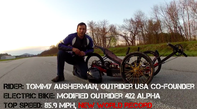 Tommy Ausherman, Co-Founder on Outrider USA, rode a modified 422 Alpha electric bike 85.9 mph.