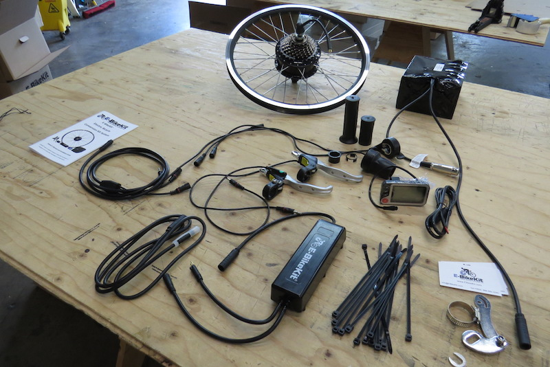The E-BikeKit system comes with many parts to fit almost any type of bike.
