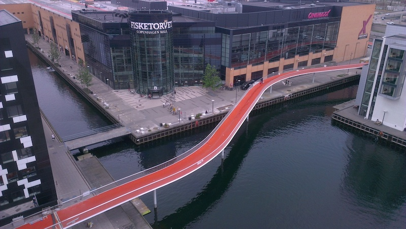 """The new cycle path bridge across the Copenhagen harbour, called """"Cykelslangen"""" (translated: the Cycle Snake)"""