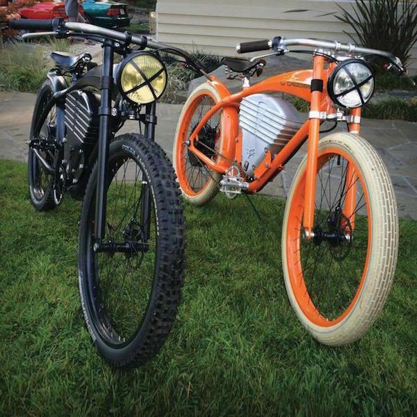 vintage e-tracker electric bike black orange