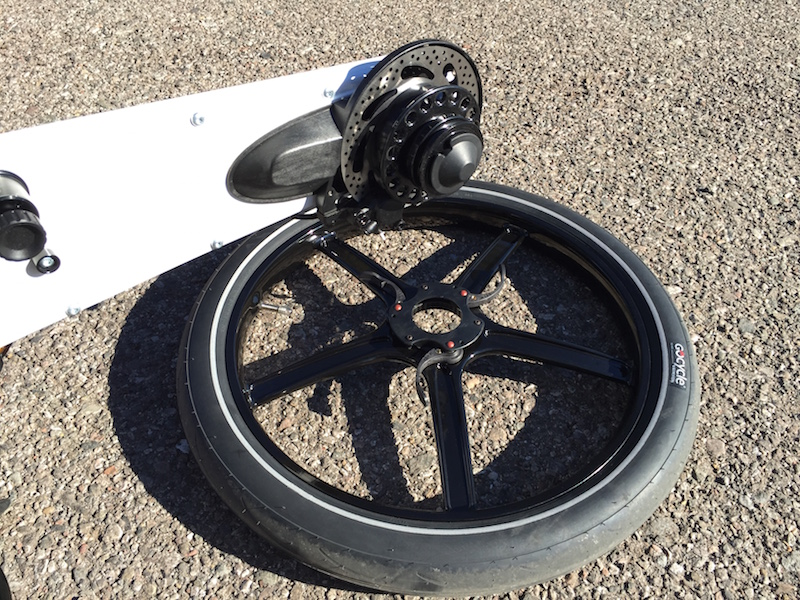 Gocycle rear wheel removed