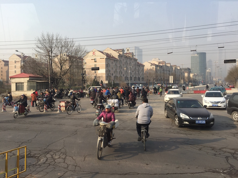 bicycle commuters in China.