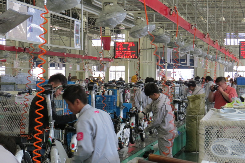 Aima electric bike assembly line.