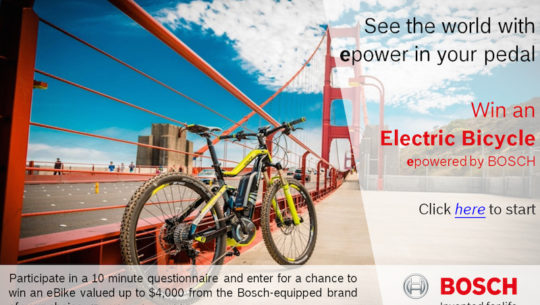 Enter to Win a Bosch Powered Electric Bike!