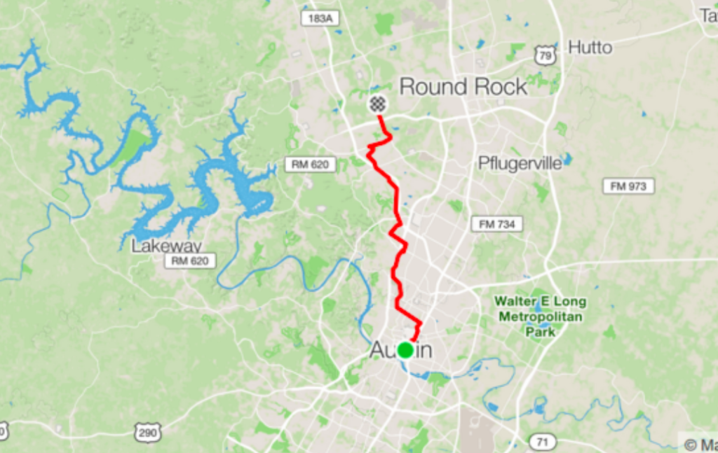 ebike commuting route round rock to austin