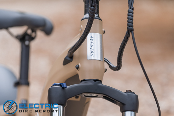 Aventon Aventure Step-Through Review headtube with clean cable routing