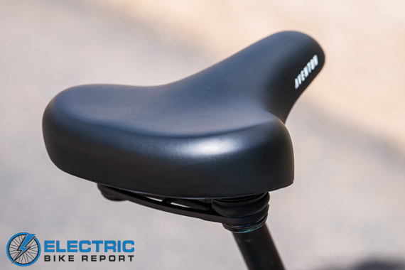 Aventon Pace 500 Step Through Electric Bike Review Comfort Cruiser Saddle