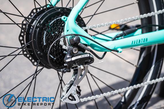 Aventon Pace 500 Step Through Electric Bike Review Shimano Acera 8 Speed Drivetrain