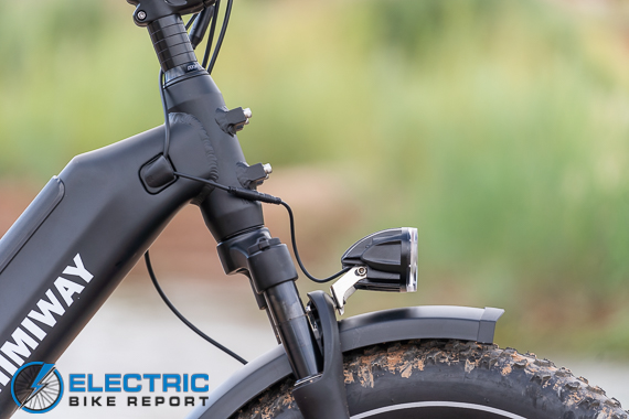 Himiway Escape Electric Bike Review front suspension and light
