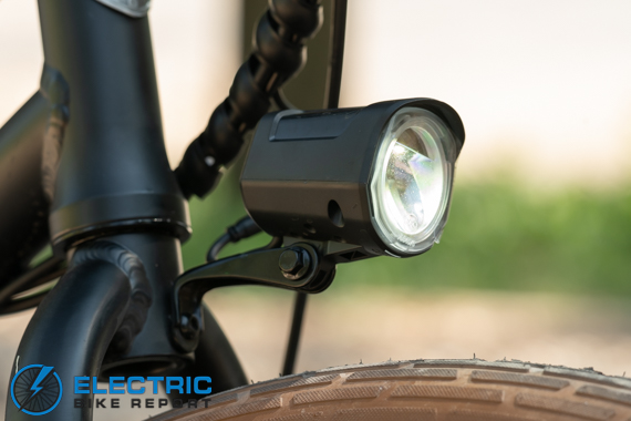 Tower Beach Babe Electric Bike Review Front Facing Flashlight