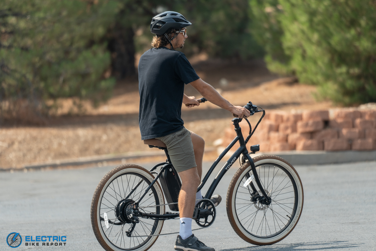 Tower Beach Babe Electric Bike Review Rider Rear View