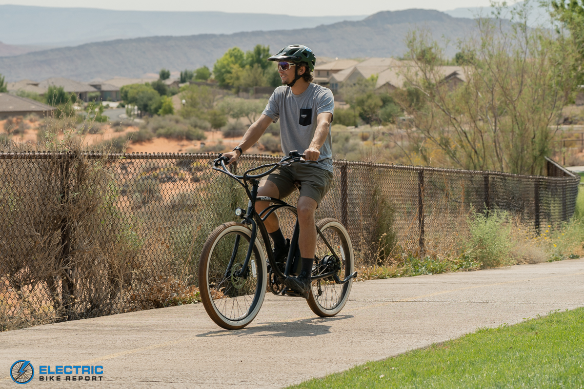 Tower Beach Bum Electric Bike Review Riding Front