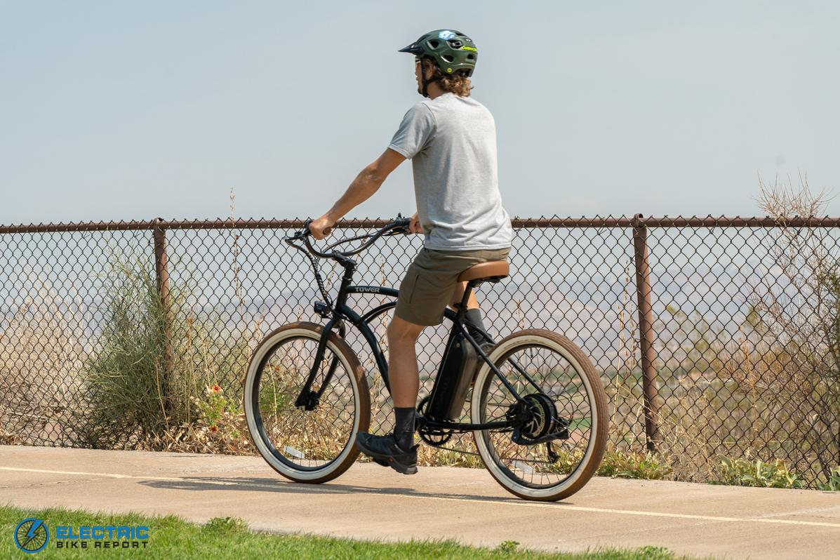 Tower Beach Bum Electric Bike Review Riding Rear
