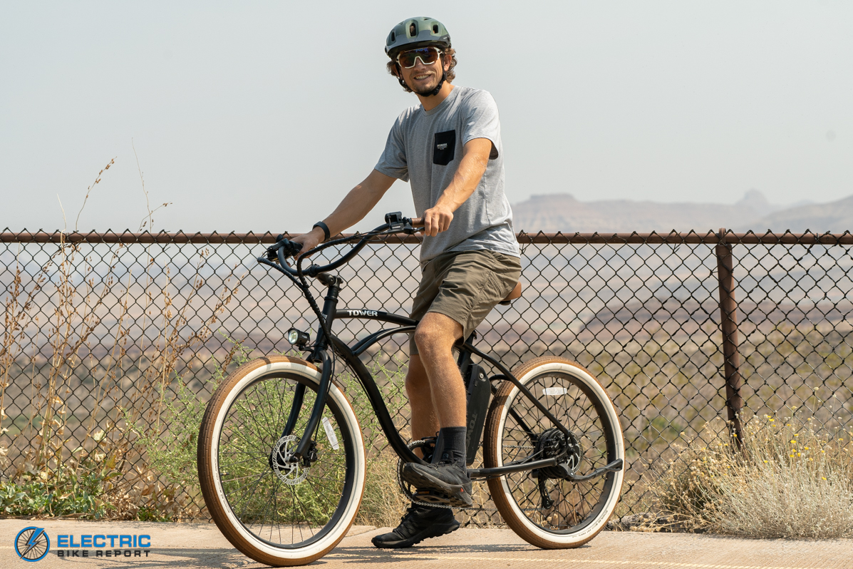 Tower Beach Bum Electric Bike Review Riding Stopped