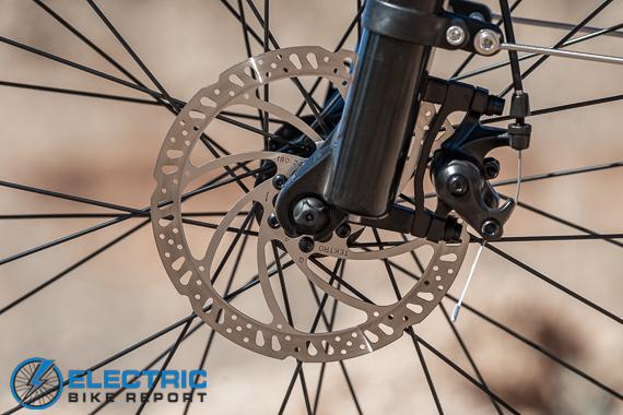 Turboant Thunder T1 Electric Bike Review Mechanical Disk Brake Rotor