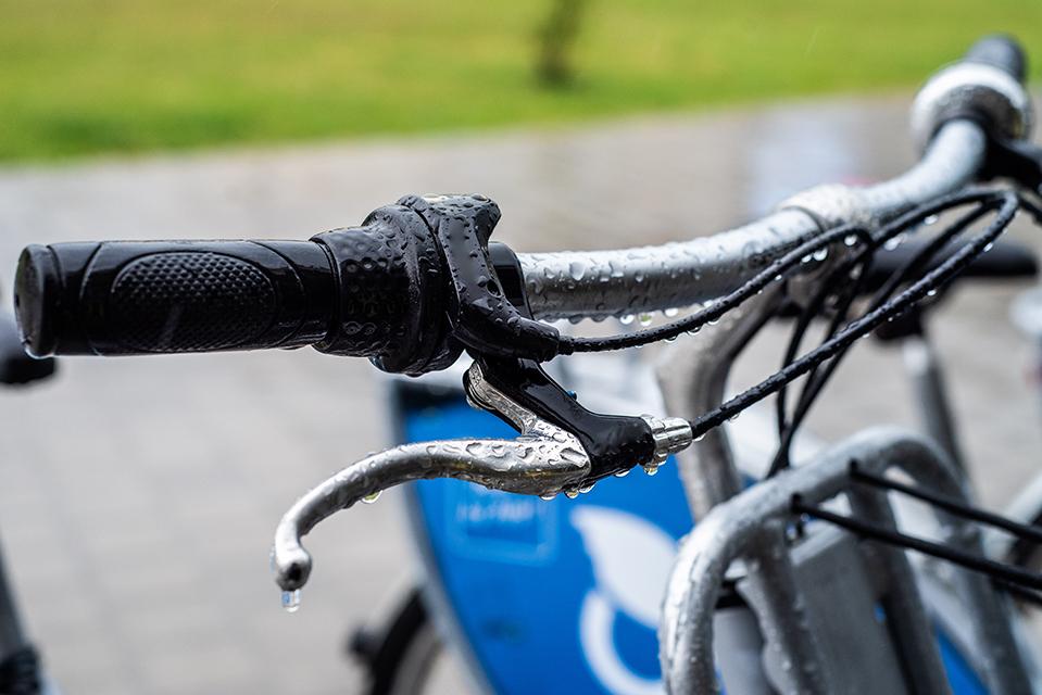 Riding an e-bike in the rain